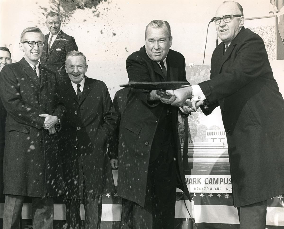 University officials pose at a ground breaking ceremony for the Ohio State Newark campus in 1966.