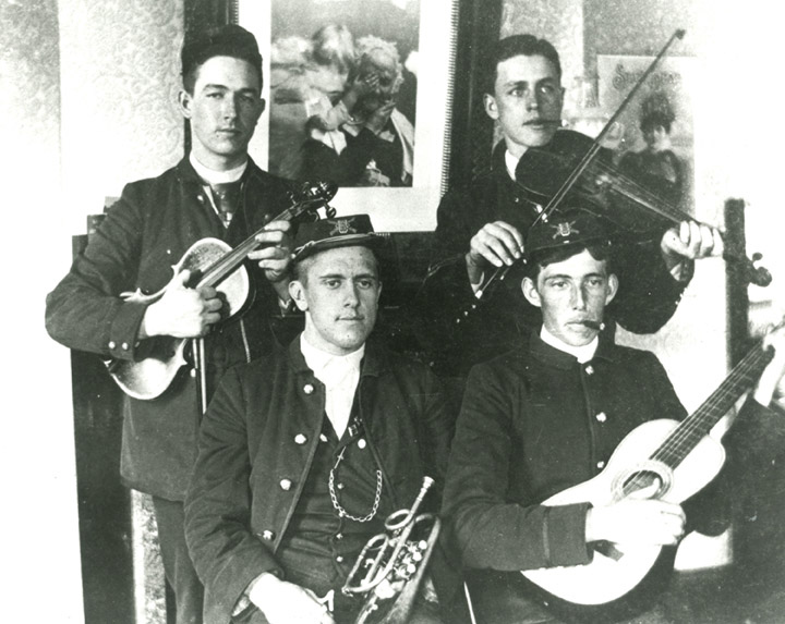 Students pose with instruments