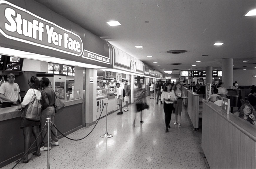 Students survey the food options at the student union in 1993